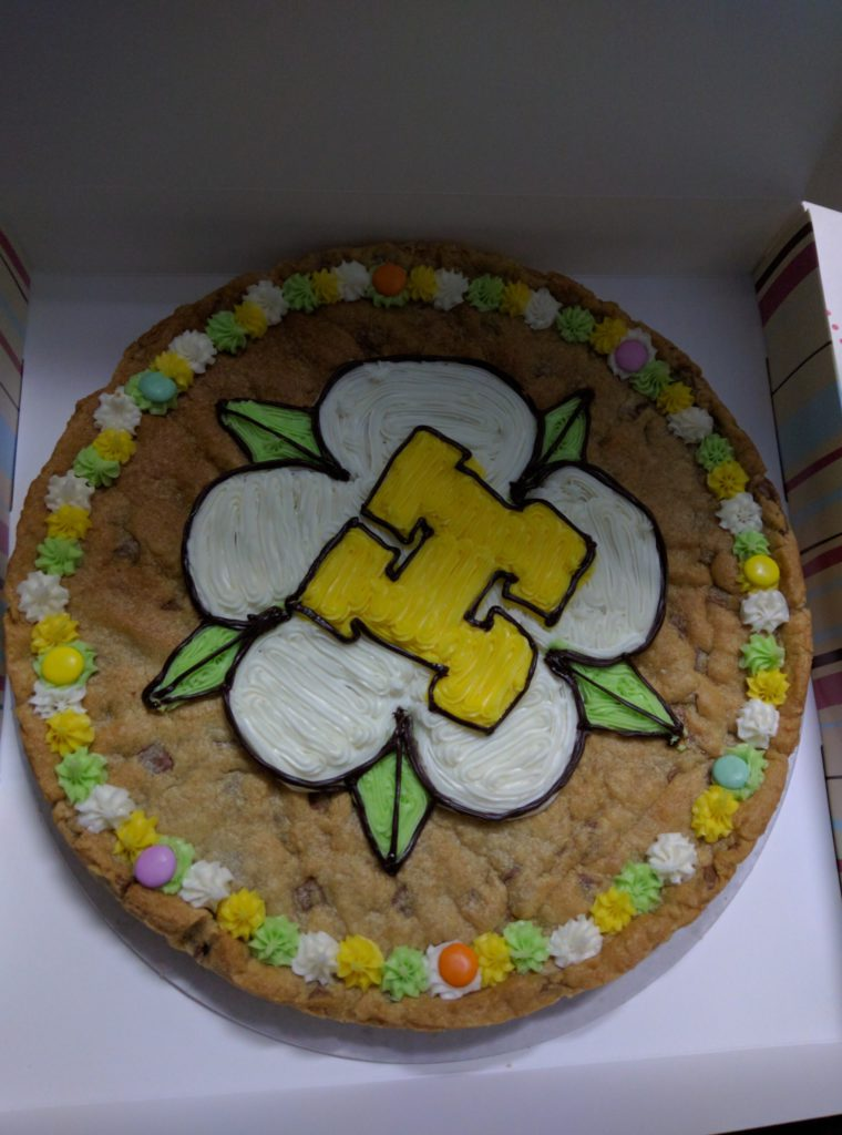 giant cookie with York Hackspace logo