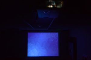 Projector showing demo image
